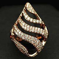 Кольцо с фианитами, серебро в позолоте, фото 1