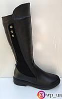 Женские зимние кожаные сапоги на маленьком каблуке