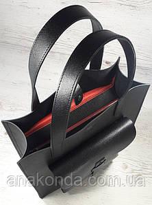 161 Натуральная кожа, Сумка женская черная, тиснение сафьян, подкладка красная А-4 + Женская кожаная сумка