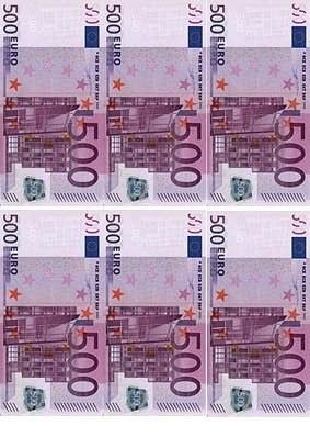"""Съедобные деньги"""" 500Евро 6шт.на А4"""" Галетте -00509"""