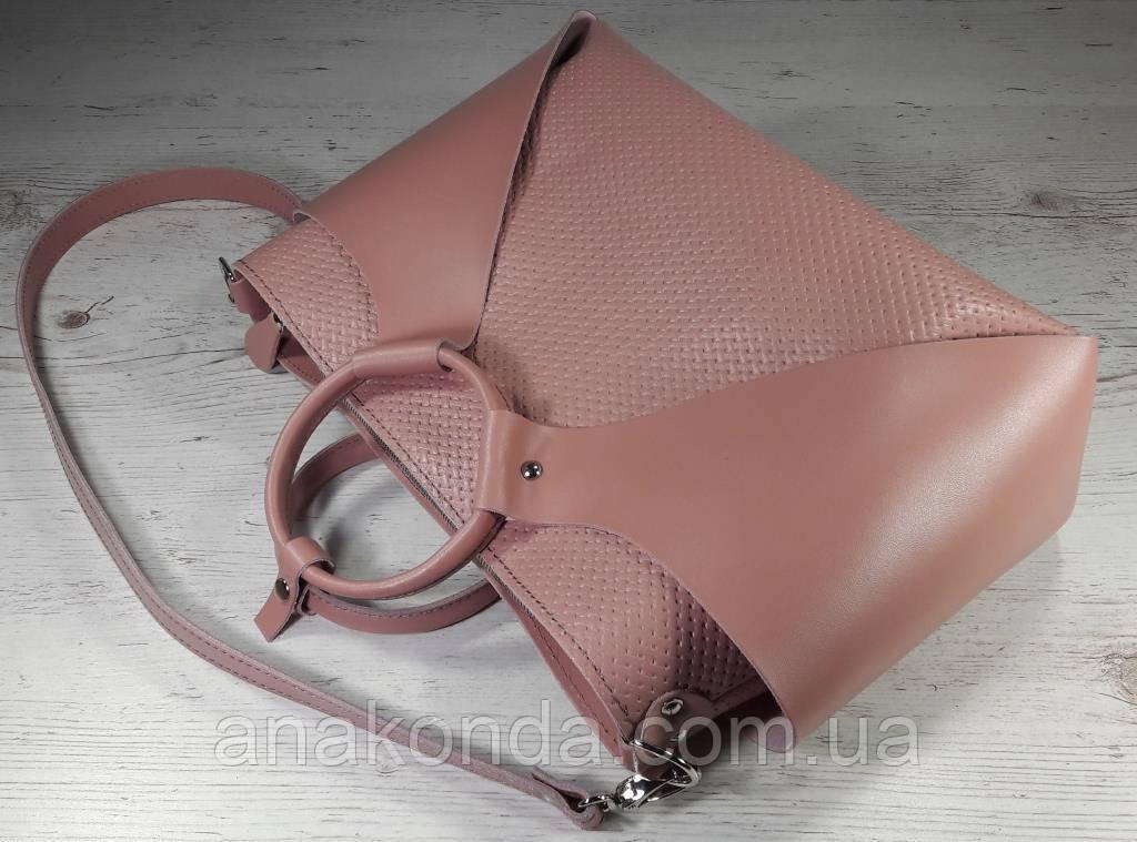 16-3 Натуральная кожа Сумка женская кожаная розовая формат А4 Сумка женская из натуральной кожи пудровая