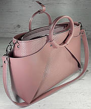 16-3 Натуральная кожа Сумка женская кожаная розовая формат А4 Сумка женская из натуральной кожи пудровая, фото 3