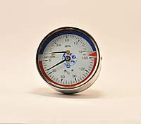 Манометр с термометром (термоманометр) ДМТ 05080 1,6 мПа 150°C осевой, фото 1