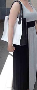 270-к Натуральная кожа, белая Сумка-пакет с мешком на молнии, черная Сумка-шоппер кожаная черно-белая сумка