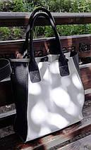 270-к Натуральная кожа, белая Сумка-пакет с мешком на молнии, черная Сумка-шоппер кожаная черно-белая сумка, фото 2