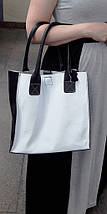 270-к Натуральная кожа, белая Сумка-пакет с мешком на молнии, черная Сумка-шоппер кожаная черно-белая сумка, фото 3