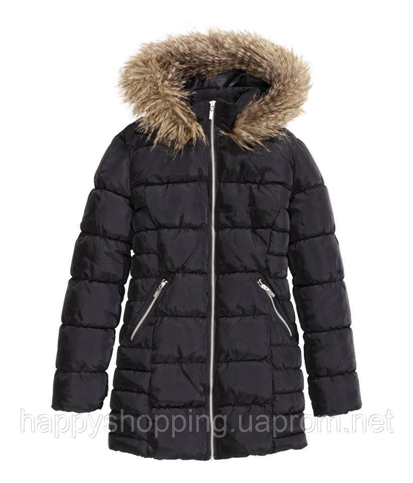 Черная удлиненная женская куртка с капюшоном H&M