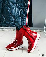 Зимние лакированные кожаные женские стеганные сапоги красные a981b2df8a060