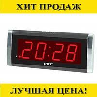Настольные часы VST-731T-1 с красной подсветкой (питание от сети)
