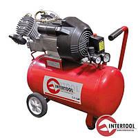 Компрессор Intertool 50л, 4HP, 3кВт, 220В, 8атм, 420л/мин, 2 цилиндр.