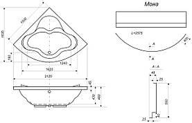 Угловая акриловая ванна Bisante Мона 1500х1500х610 мм, фото 3