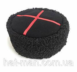 Кубанка з каракулю, чорний верх, червоний галун