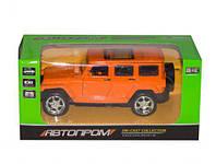 "Машина Jeep оранжевый метал 7798 (96шт/2) ""АВТОПРОМ"" ,батар.,свет,откр.двери,в кор. 15*6,7*7см"