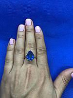 Серебряное кольцо с камнем синяя шпинель
