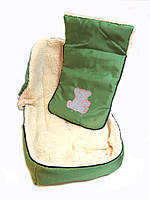 Зимний детский конверт на овчине зеленый