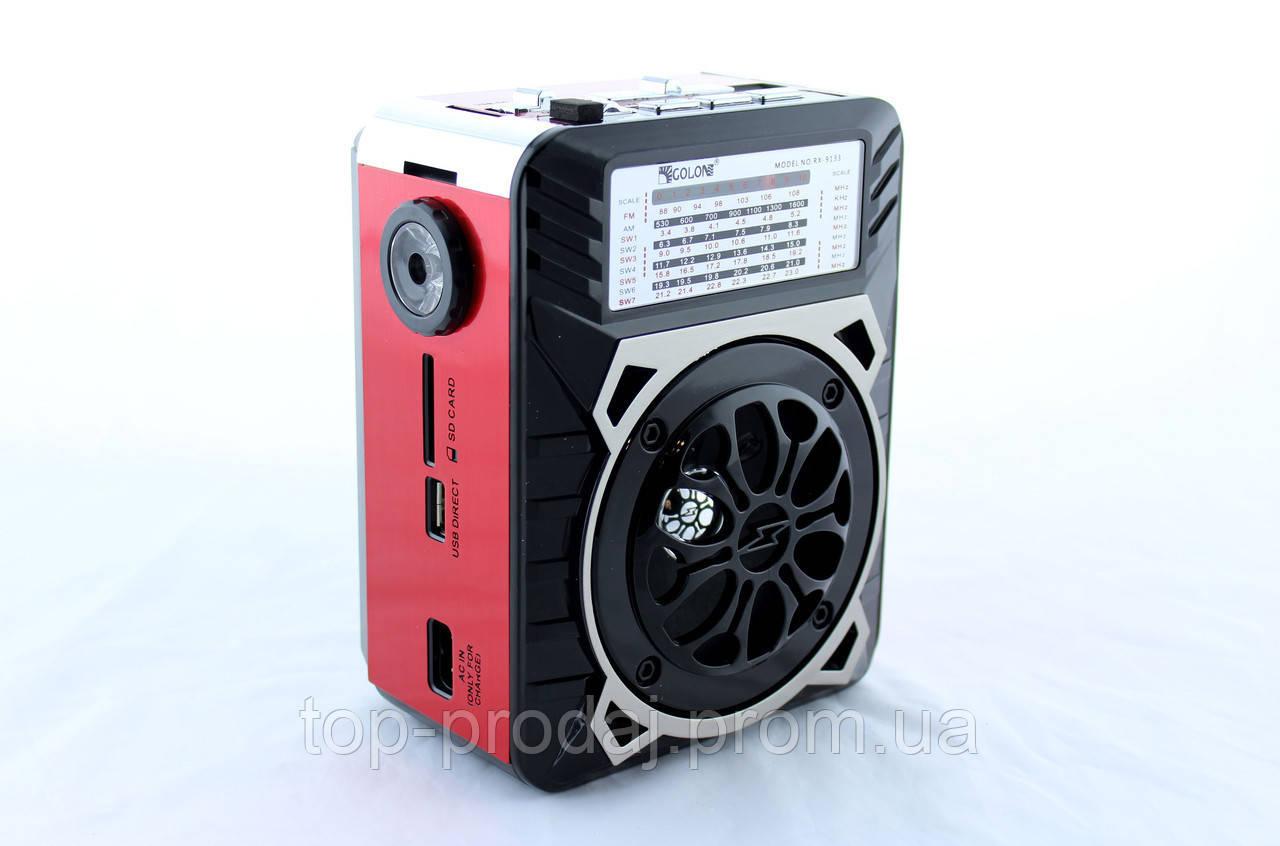 Всеволновой радиоприёмник, Радио RX 9133, Приемник с фонариком SD/USB, Портативный радиоприемник