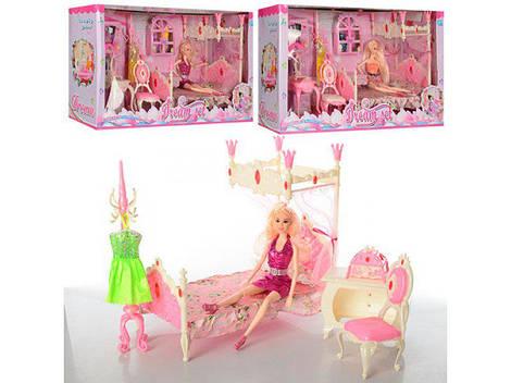Мебель 989-6 (8шт) спальня, кровать, трюмо, кукла-шарнирная, 31см, украшения, в кор-ке