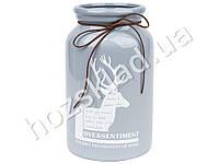 """Ваза керамическая """"Deer"""" 15х15х24,5см цвет серый, в картонной коробке"""