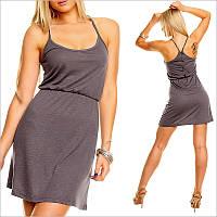 Серое легкое платье, молодежные платья
