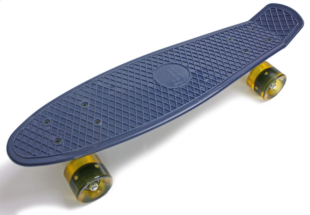 """Скейт Пенни борд Penny Board Classic Lux 22"""" гравировка """"Penny""""  Светящиеся колеса, Антрацит (2T2032/WL/AT)"""