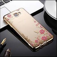 Чехол/Бампер со стразами для Samsung Galaxy J5 Prime / G570, Золото (Силиконовый)