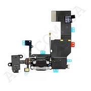 Шлейф (Flat cable) iPhone 5C с гнездом на зарядку,   гнездом на наушники,   микрофоном чёрный