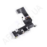Шлейф (Flat cable) iPhone 5 с гнездом зарядки,   гнездом на наушники,   микрофоном чёрный