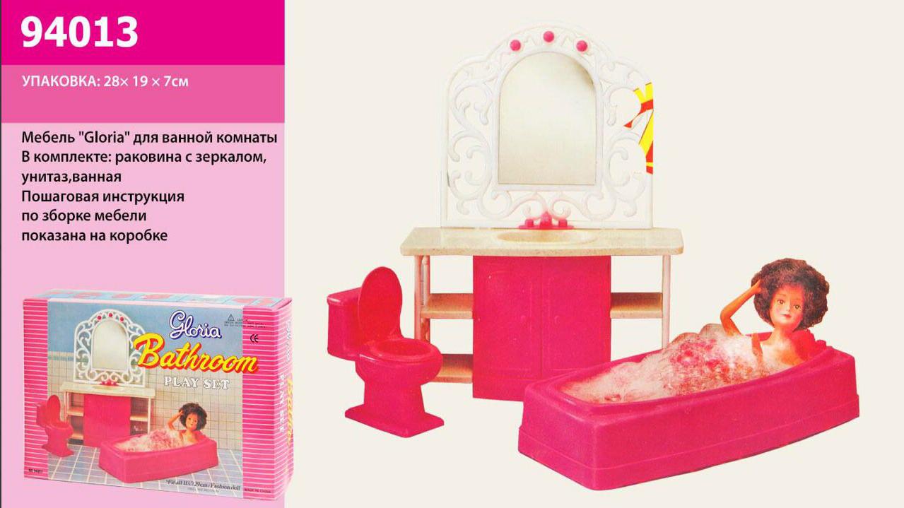 """Меблі для ляльок 94013 Глорія """"Gloria"""" Ванна кімната Барбі, ванна, дзеркало, унітаз."""