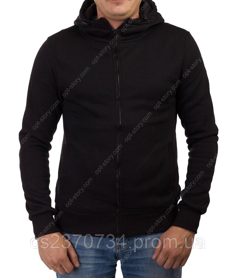Толстовка мужская  J-Stil с капюшоном и прорезным карманом  чёрная  M-L-XL-2ХL
