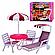"""Мебель для кукол 3920 Глория """"Gloria""""  Садовая мебель, Пикник, шезлонг, зонт, стулья., фото 5"""