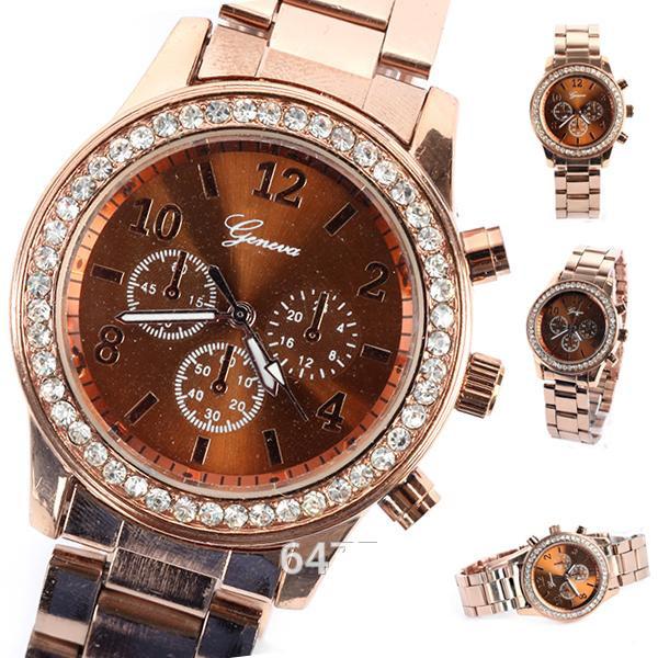 Наручные часы Geneva металлический ремешок коричневый цвет