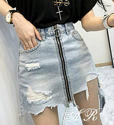 Юбка (Фабричный Китай) ткань джинс коттон (не тянется) металлическая змейка. Размер m (42/44) l (44/46) (668)