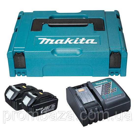 Набор аккумуляторов Makita LXT 2x3.0 Ач + DC18RC + Makpac