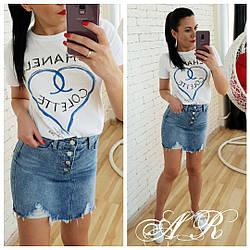 Юбка (Фабричный Китай) ткань джинс коттон (не тянется) размер m (42/44)l (44/46) длина 39 см (162)