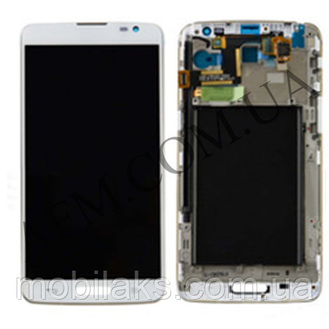 Дисплей (LCD) LG D680 G Pro Lite/  D682 G Pro Lite Dual с сенсором белый + рамка, фото 2
