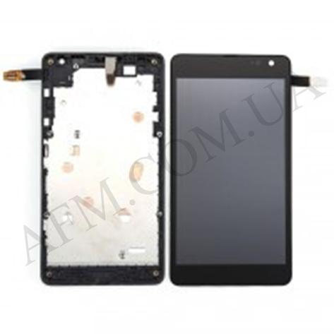 Дисплей (LCD) Microsoft 535/  535 Lumia Dual Sim с сенсором чёрный + рамка (CT2C1607FPC- A1) ориг, фото 2