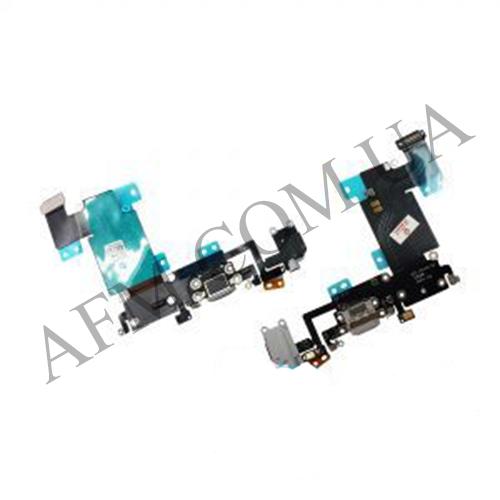 Шлейф (Flat cable) iPhone 6S Plus,  с разъёмом зарядки,  коннектором наушников,  микрофоном серый