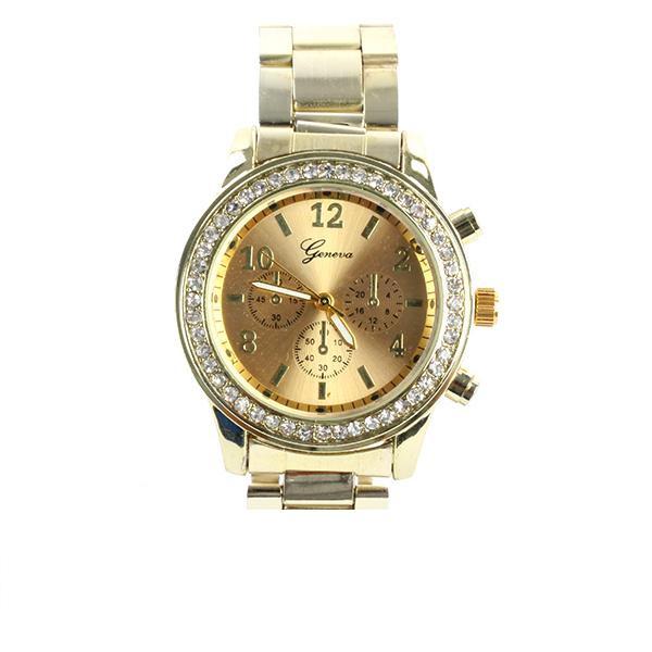 Наручний годинник Geneva золото, камінчики навколо циферблата