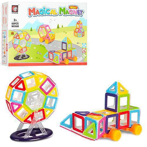 Магнитный конструктор М058В  Mini Magical Magnet, 68 деталей.  (аналог MAGFORMERS)