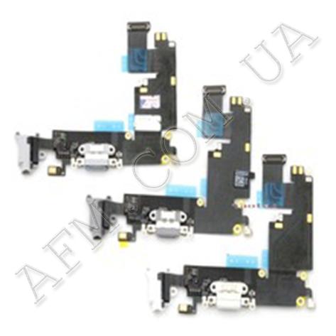Шлейф (Flat cable) iPhone 6S с разъёмом зарядки,   коннектором наушников и микрофоном светло- серый, фото 2