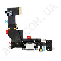 Шлейф (Flat cable) iPhone 5S с гнездом на зарядку,   гнездом на наушники,   микрофоном белый