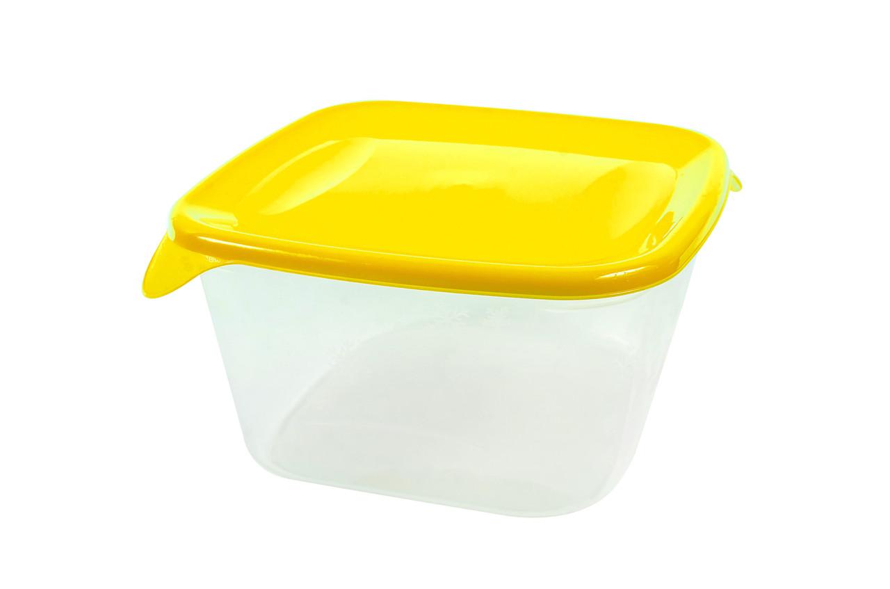 Контейнер квадратный «Каскад» с желтой крышкой 1,2л.
