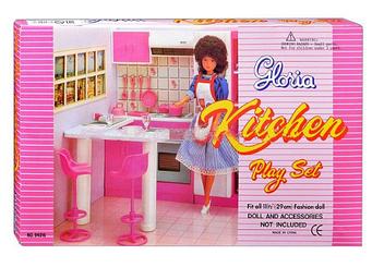 """Мебель для кукол 94016 """"Gloria"""" Глория Кухня Барби, плита, стулья аксессуары."""
