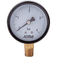 Манометр д. 63 радиальное подключение 1/4 (Атм.0-4) ICMA Арт. 244