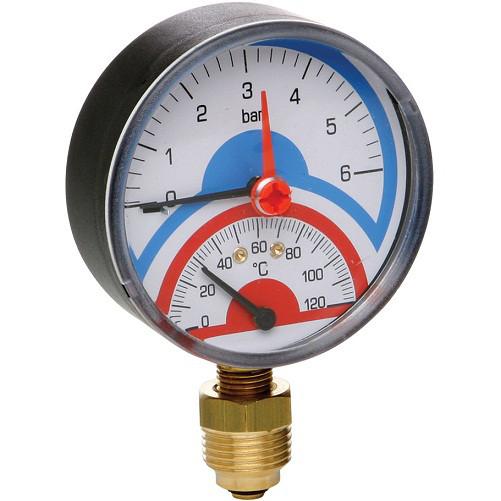 Термоманометр радиальный с запорным клапаном 0-10 BAR , t°-120 (1/2) ICMA Арт. 258