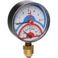 Термоманометр радиальный с запорным клапаном 0-10 BAR , t°-120 (1/2) ICMA Арт. 258, фото 1