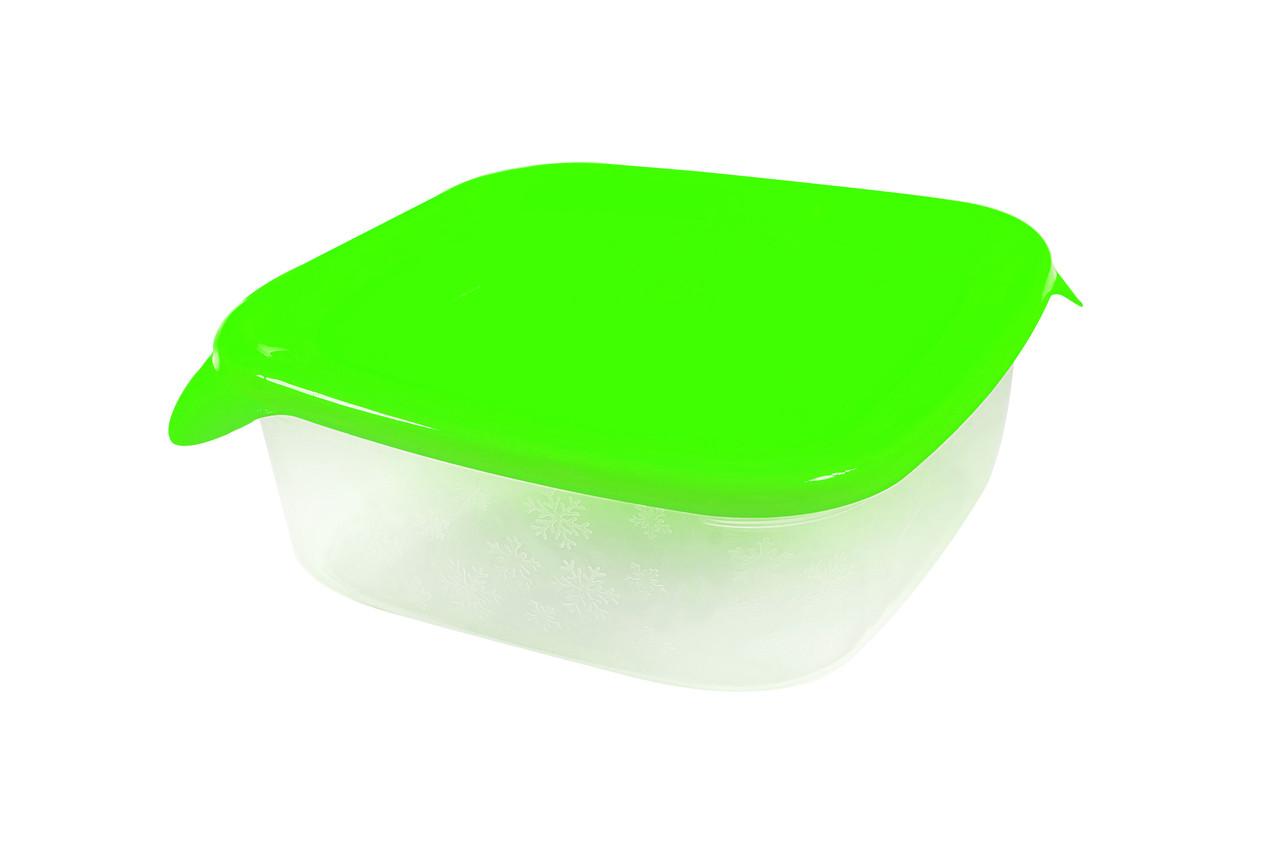 Контейнер квадратный «Каскад» с салатовой крышкой 0,8л.