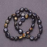 [d 5х8(+-)мм, L-38см] Галтованные бусины-монетки из натурального камня Соколиный (Ястребиный) глаз на леске