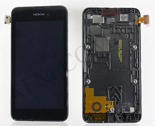 Дисплей (LCD) Nokia 530 Lumia с сенсором черный + рамка оригинал, фото 2
