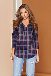 """Свободная женская блузка-рубашка в клетку с молнией спереди """"А-103"""" синяя"""